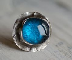 Blue glass ring, amazing ring, delicate ring, for her, ,retro ,unique, handmade, , one of kind, unique handmade , lovely, studioArtea on Etsy, $23.42