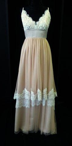 Blush Pink Lace Boho Wedding Dress by BellaVittoria on Etsy, $1245.00