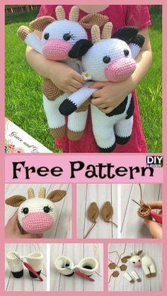 Crochet Amigurumi Cow – Free Pattern #freecrochetpattern #crochetpatten #cow #amigurumi Crochet Cow, Crochet Baby Toys, Cute Crochet, Crochet Animals, Crochet Dolls, Crochet Hats, Cow Pattern, Free Pattern, Stuffed Cow