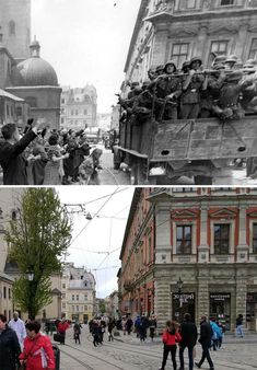 30 Before & After Photos That Show How Much Europe Has Changed Over Time - Funtertainments Syria Before And After, Before After Photo, Herbert Von Karajan, Paris In September, Rome Pictures, Liberation Of Paris, Canadian Soldiers, Juno Beach, World Conflicts
