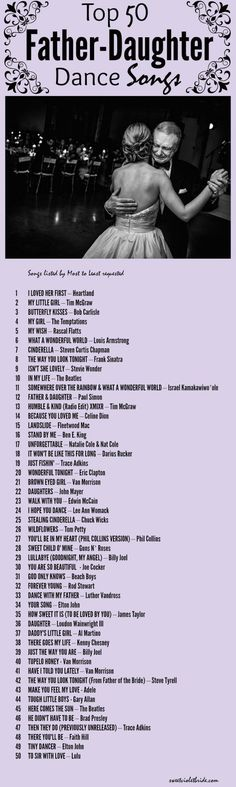 Top 50 Father Daughter Dance Songs Sweet Violet Bride is part of Wedding playlist - Wedding Music, Our Wedding, Dream Wedding, Wedding Reception, Trendy Wedding, Wedding Quotes, Wedding Stuff, Party Quotes, Wedding Tips