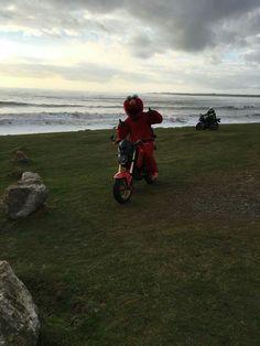 Ogmore, beautiful place! Elmo riding a Honda MSX motorbike around Cardiff and Barry.