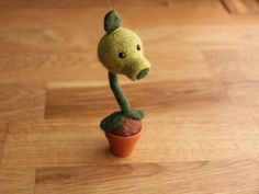 Needle Felted Peashooter - Needlefelt Plants vs Zombies Character - Felted Pea Shooter Character - Geeky Gifts For Gamers - Gaming Ornament by najmetender on Etsy https://www.etsy.com/uk/listing/160847414/needle-felted-peashooter-needlefelt