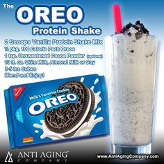 OREO Protein Shake Recipe | Protein Shakes and Printable Recipes: http://blog.antiagingcompany.com/oreo-protein-shake/