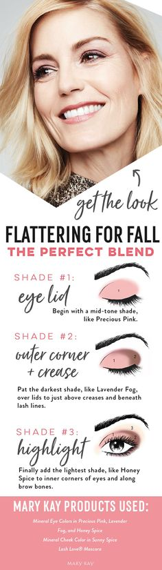 Fall for this makeup look that will flatter any skin tone, using pale pinks and purples that make all eye colors pop! To get this three-color application down, all you need are the right brushes and a little practice, and you can create endless looks with other color combinations.   Mary Kay
