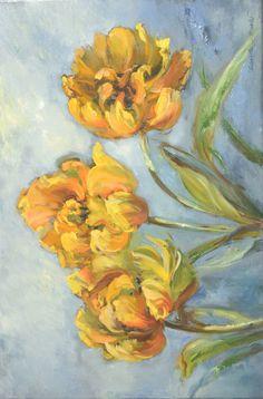 """Tulipany""- 40x60 olej, płótno Painting, Art, Art Background, Painting Art, Kunst, Paintings, Performing Arts, Painted Canvas, Drawings"