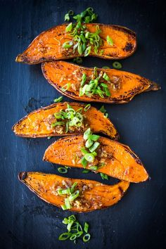 Kyoto-Style, Roasted Sweet Potatoes with Miso, Ginger and Scallions - an delicious vegan side dish that is easy to make and full of amazing flavor! Roasted Sweet Potatoes, Vegan Side Dishes, Vegetable Side Dishes, Vegan Sweet Potato Recipes, Coconut Oil Weight Loss, Japanese Sweet Potato, Sweet Potato Slices, Bento, Kabobs