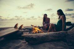 Bonfire vibes in secret beach near Sayulita, Mexico.