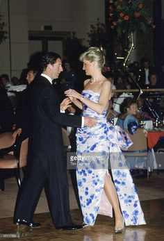 Princess Diana And Prince Charles Leading The Dance At A Bicentennial Dinner-dance In Melbourne, During Their Royal Tour Of Australia. Diana's Dress Has Been Designed By Catherine Walker.