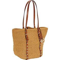 fbaf5706c97545 MICHAEL Michael Kors Studded Straw Medium Shopper Natural/Luggage - MICHAEL  Michael Kors Designer Handbags