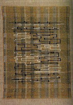 Anni Albers; Cotton, Jute and Metallic Ribbon 'Black, White, Gold 1' Tapestry, 1950.