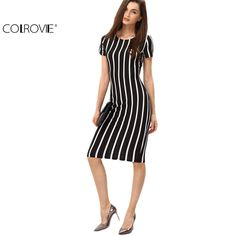 COLROVIE Women Vertical Striped Fitness Dresses Work Summer Style Sexy 2016 New Short Sleeve Sheath Office Midi Dress