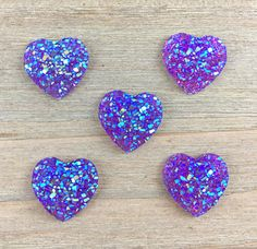 Purple Heart Hair Bow Center Purple Heart cabochon Sparkling