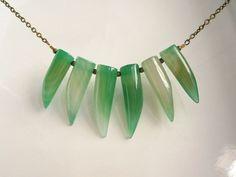 Agate Teeth Necklace Green Stone Carved Irregular by ElleDeeNOLA