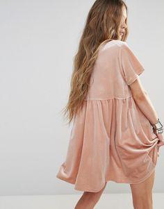Image 2 ofGlamorous T-Shirt Smock Dress In Velvet