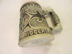 Gerz West Germany Majolica Ceramic Beer Stein Medieval Style Bar Scene