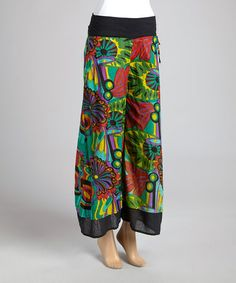 This Teal & Black Tropical Palazzo Pants - Women by Jayli is perfect! #zulilyfinds