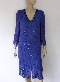 Pretty Pretty!!!!!Vintage Beaded Silk Dress 80's Silk Hand by luvofvintage on Etsy, $48.00