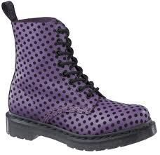Have this,  Doc MARTENS PASCAL LEATHER 8-EYELET Polka DOT FLOCK ANKLE BOOT Purple Black NEW