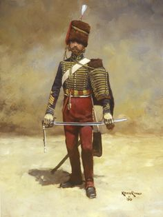 "Troop Sgt Major of the 11th Hussars during the Crimean War. The 11th was designated by Queen Victoria in 1840 as 'Prince Albert's Own'. The regiment's uniform was distinctive among other hussar regiments by its crimson colored trousers which gave rise to its nicknames; ""The Cherrypickers"" and ""the Cherubums"". Attached to The Earl of Cardigan's Light Brigade of Cavalry, the 11th Hussars were engaged in the attack forever immortalized in the poem, 'The Charge of the Light Brigade'."