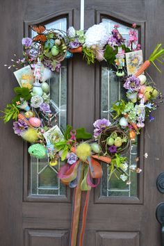 I bought Easter & Spring decorations on sale from Pier 1, Michaels, Tuesday Morning & Hobby Lobby to make this wreath