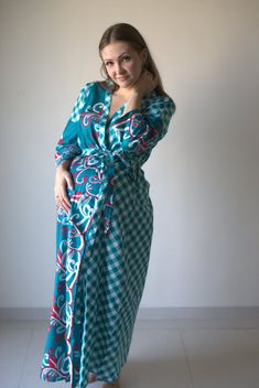 Teal Plaid Floral Ankle length Maternity Robe Hospital Gown