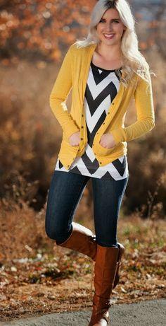 chevron black and white shirt with yellow cardigan