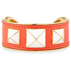 Rebecca Minkoff Enamel-Studded Leather Cuff ($56) ❤ liked on Polyvore featuring jewelry, bracelets, gold w persimmon, white jewelry, golden jewelry, white enamel jewelry, rebecca minkoff jewelry and white enamel bangle