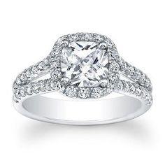 0.67 cttw Diamond Cushion Cut Halo Engagement Ring