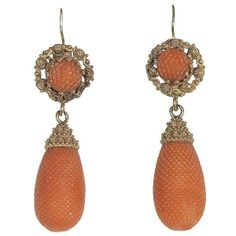 A Pair of 18Kt Gold Antique Coral Earring, France 1870ca from bernardoantichita on Ruby Lane