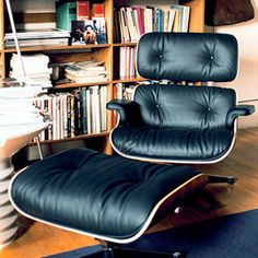 Vitra Lounge Chair & Ottoman Cherry/Black Leather by Eames