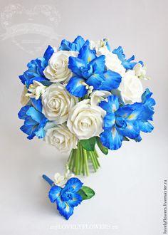Купить Букет невесты с ирисами полимерной глины - букет невесты, букет невесты…