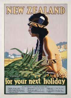 Sello: New Zealand for your Next Holiday (Maori woman) (Nueva Zelanda) (Classic Travel Posters) Mi:NZ 3484 New Zealand Art, New Zealand Travel, Vintage Travel Posters, Vintage Ads, Posters Australia, Tourism Department, Tourism Poster, Nz Art, Kiwiana