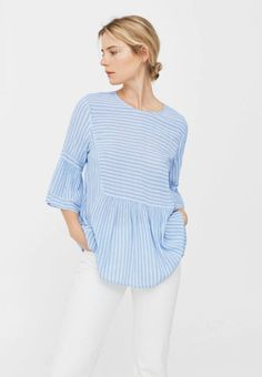 Mango. Blouse - sky blue. Fit:regular. Outer fabric material:100% viscose. Pattern:striped. Care instructions:machine wash at 40°C,do not tumble dry. Neckline:round neck. Length:long. Sleeve length:3/4 length. Total length:...