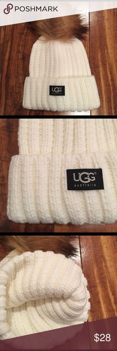 New Ugg hat, ribbing and Pom Pom!  ⭐ White ribbed hat, never worn.  Cute faux fur Pom Pom on top.  :) UGG Accessories Hats
