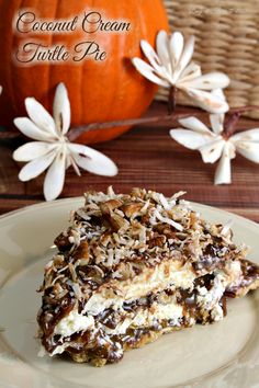 I can't think of any kind of celebration where this indulgently, luscious pie would not be welcome! With no baking involved, it's simple to make and a perfect make-ahead party dessert -- Coconut Cream Turtle Pie. Get the easy recipe, at Busy-at-Home.