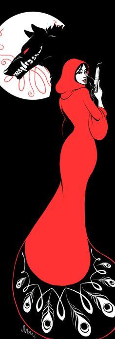 Aubrey Beardsley inspired Red Riding Hood