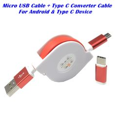 Micro USB Cable + Type-C USB Data Charging Cable