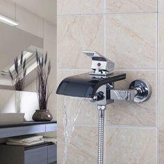 Black Glass Single Handle 2 Holes Bath wall mounted sink waterfall basin mixer tap shower JN8206 #Affiliate