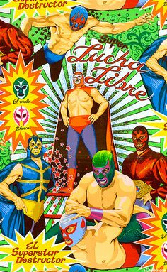 'Super Lucha Libre' from the 'Folklorico' collection by the De Leon Design Group for Alexander Henry Fabrics. Paper Background, Background Patterns, Mexican Restaurant Design, Unrequited Crush, Mexican Wrestler, Wrestling Posters, Nacho Libre, Alexander Henry, Green Quilt