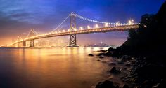 Misty night setting over San Francisco, California
