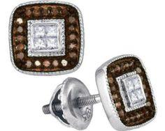 Brown Earrings White Stud Black Hills Gold
