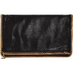 Stella McCartney Falabella Shaggy Deer Foldover Clutch ($895) ❤ liked on Polyvore featuring bags, handbags, clutches, black, stella mccartney handbags, foldover purse, fold over clutches, fold over handbag and black handbags