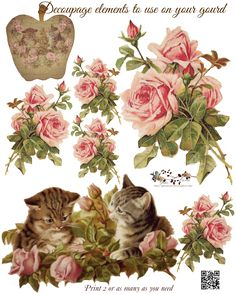 Roses and Kittens Decoupage Scrap Sheet