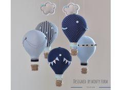 Navy Light Blue White Hot Air Balloon Mobile Travel Theme Nursery Decor Custom Mobile World Map