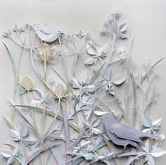 Ghost Hedgerow Sculptures of birds, foxes, flowers made from paper by Helen Musselwhite 3d Paper, Origami Paper, Paper Crafts, Paper Magic, Paper Illustration, Paper Artwork, Oeuvre D'art, Paper Cutting, Paper Flowers
