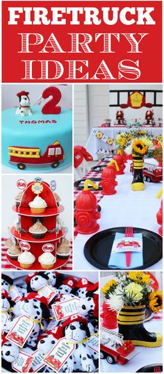 Party Tableware, Banners, Balloons /& Decorations FIRE TRUCK Birthday 1C