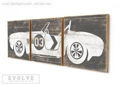 LARGE Vintage Race Car Boys Room Decor Baby by EVOLVEPRINTMAKING