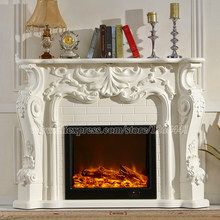 European Style Electric Fireplace Carved Wood Fireplace Mantel W160cm Led Artificial Optical Flame Decoration Room H Fireplace Electric Fireplace Fireplace Set