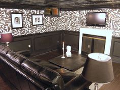 """Featured in Man Caves episode """"Gangster Getaway."""" Check out that wallpaper design!"""
